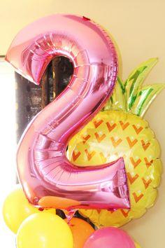 Two-tti Fruity Balloons Tutti Fruity Balloons Pineapple Balloons Second Birthday