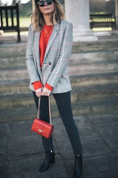 Check blazer, red jumper, black jeans, ankle boots, red chain Aspinal Lottie Bag, Celine Baby Audry sunglasses, Emma Hill