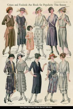 20s dress color illustration print ad flapper Catalogue page showing day dresses, 1921 United States, Pictorial Review