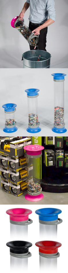 The C-Thru™ 5, 10 and 15 are dedicated recycling bins, ideal for collecting small recyclable waste deposits such as batteries.  An EU directive (2006/66/EC) on batteries and their disposal came into force in 2009 and sets a recycling target of 45% by 2016. Shops and online retailers that sell more than 32 kilograms of batteries per year (equivalent to one pack of 4xAA batteries per day) must offer facilities to recycle batteries free of charge.