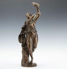 J. Clésinger 1858 Zingara Bronze Skulptur F. Barbedienne Tänzerin 55cm