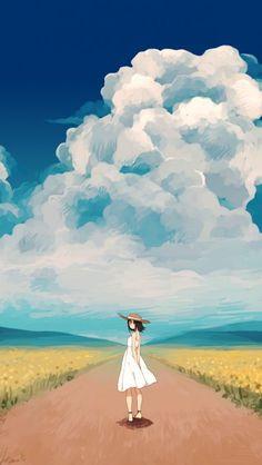 Anime-Girl-in-Sunflower-Farm-Wallpaper-iPhone-Wallpaper - iPhone Wallpapers