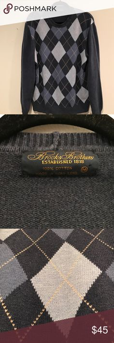 Brooks Brothers Blue Argyle Sweater This is mint Brooks Brothers Argyle Sweater Brooks Brothers Sweaters Crewneck