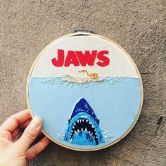 My Gf did this, she does movies :) : Embroidery Hand Embroidery Stitches, Embroidery Hoop Art, Cross Stitch Embroidery, Embroidery Designs, Cross Stitch Art, Cross Stitching, Cross Stitch Patterns, Crochet Circles, Contemporary Embroidery
