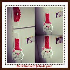 Ateliê NATUREZA feita de pano : Bichinhos de Feltro - Puxador de Geladeira de Gatinho Branco
