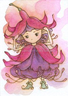 Abrir edición ACEO Print - caprichosa Sprite fucsia - hada linda florecita Fuschia en Magenta & púrpura - Fantasy Art por Mitzi Sato-Wiuff