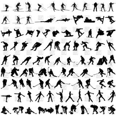 Buy Set of Winter Sport Silhouettes by angelp on GraphicRiver. Set of winter sport silhouettes. Fully editable EPS 8 vector illustration, Layered PSD file and High Resolution RGB J. Free Vector Clipart, Cooking Classes For Kids, Sport Icon, Silhouette Vector, Inspiration For Kids, Winter Sports, Vector Pattern, Royalty, Silhouettes