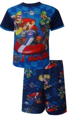 MARIOKART Wii Go Mario Pajamas Go Mario! These flame resistant short sleeve long pant pajamas for boys feature favorite charact...