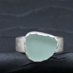 there's just something special about beach glass!  beach glass and diamonds sterling silver pinky ring - Art Jewelry Magazine - Online Community, Forums, Blogs, and Photo Galleries