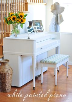 How to paint a piano. I would be extremely hesitant at doing this, but my piano is dark brown and older than dirt. A white piano would be very nice! Classic Furniture, Unique Furniture, Upcycled Furniture, Rustic Furniture, Kids Furniture, Furniture Decor, Painted Furniture, Furniture Design, Victorian Furniture