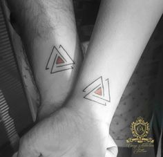 Geometric triangle tattoo for couple
