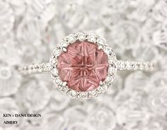 Halo Engagement Ring with pink tourmaline by ken + dana design