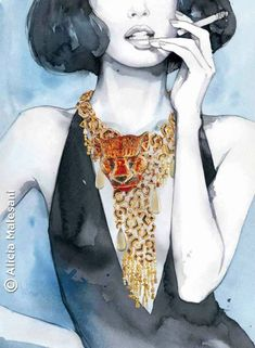 Mar 29, 2015 - This Pin was discovered by Hot Port Life & Style [Fashion. Discover (and save!) your own Pins on Pinterest Jewelry Illustration, Fashion Illustration Sketches, Woman Illustration, Fashion Sketches, Art Hipster, Harper's Bazaar, Moda Chic, Jewellery Sketches, Watercolor Fashion