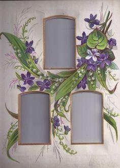 626~Violets and Ferns Frame x3