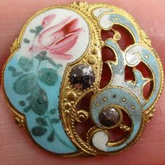 PIERCED Brass ANTIQUE ENAMEL BUTTON~ AQUA + WHITE WAVE DESIGN w/ Painted ROSES