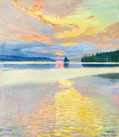 bofransson:    Akseli Gallen-Kallela - Finnish - 1865-1931 - Sunset Over Lake Ruovesi