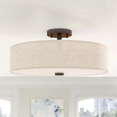 Ivy Bronx Alina Semi Flush Mount Finish: English Bronze - Semi Flush Ceiling Lights - Ideas of Semi Flush Ceiling Lights Drum Ceiling Lights, Low Ceiling Lighting, Semi Flush Lighting, Semi Flush Ceiling Lights, Ceiling Light Fixtures, Room Lights, Overhead Lighting, Flush Mount Light Fixtures, Drum Light Fixture