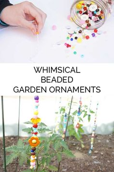 Crafts For Kids DIY Whimsical beaded garden ornaments - keep the colours of summer throughout the year in the yard or garden with these simple summer craft for kids and get them to create their own Beaded Garden Ornaments Garden Crafts For Kids, Summer Crafts For Kids, Diy Garden Decor, Crafts To Do, Garden Art, Garden Ideas, Herbs Garden, Gardening With Kids, Homemade Garden Decorations