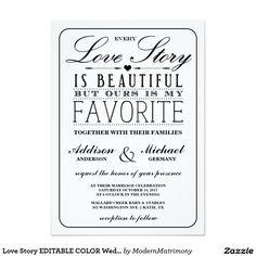 Love Story EDITABLE COLOR Wedding Invitation