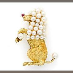 A cultured pearl and ruby poodle brooch, Civanyan, Paris
