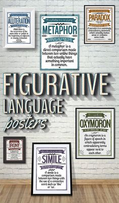 Figurative Language Posters These colorful posters will brighten up your classroom and help remind your students of these different techniques. These posters were designed with the Middle / High School classroom in mind. - College Scholarships Tips Ela Classroom, Middle School Classroom, Classroom Posters, Classroom Design, Classroom Ideas, Future Classroom, Movie Classroom, English Classroom Decor, Classroom Walls