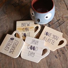 Coffee Break Coaster Set - Coffee Set - Ideas of Coffee Set - Coffee Break Coaster Set // Fair Trade // Ethical Kitchen // Gift For The Coffee Lover // Handmade Coffee Coasters, Tea Coaster, Wooden Coasters, Wood Burning Crafts, Wood Burning Art, Coffee Set, Coffee Break, Iced Coffee, Laser Cutter Projects