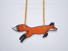 Fox necklace animal jewelry kawaii cute shrink by DoucesCreations