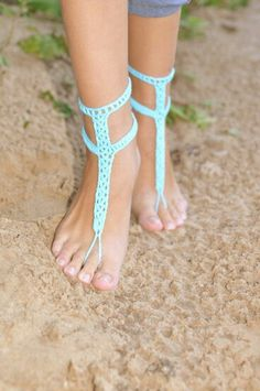 Turquoise Blue Barefoot Sandals with Buttons Crochet Barefoot Turquoise Foot Jewelry Beach Wedding Something Blue Wedding Accessory Crochet Shoes, Crochet Lace, Crochet Summer, Crochet Flip Flops, Beach Foot Jewelry, Feet Jewelry, Crochet Barefoot Sandals, Blue Wedding Shoes, Turquoise Weddings