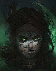 Witch Doctor Girl by Rafal Gorniak Witch Characters, Fantasy Characters, Dark Fantasy Art, Fantasy Artwork, Female Character Design, Character Art, Witch Drawing, Dark Witch, Witch Doctor