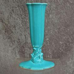 Cowan Pottery Seahorse Bud Vase Circa 1926, Turquoise