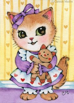 Art 'Kitty's Doll ACEO' - by Carmen Medlin from Sold Art