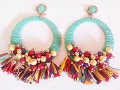 Moxu Complementos Fabric Jewelry, Wire Jewelry, Jewelery, Big Earrings, Tassel Earrings, Handmade Accessories, Handmade Jewelry, Crafts, Projects