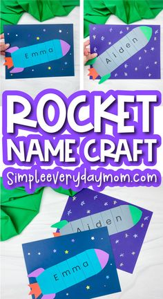 Preschool Name Crafts, Name Activities, Craft Activities For Kids, Preschool Activities, Printable Crafts, Free Printable, Space Books For Kids, Craft Projects For Kids, Kids Crafts