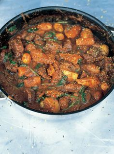 Jools goes mad for this stew in the colder months of the year, and the kids love it too. It's a straightforward beef stew to which all sorts of root veg can be added. I really like making it with squash and Jerusalem artichokes, which partly cook into the sauce, making it really sumptuous with an unusual and wonderful flavour. The great thing about this stew is that it gets put together very quickly, and this is partly to do with the fact that no time is spent browning the meat. Even though…