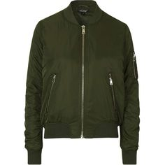 TOPSHOP MA1 Bomber Jacket (£55) ❤ liked on Polyvore featuring outerwear, jackets, topshop, khaki, green khaki jacket, topshop jacket, green flight jacket, green bomber jacket and blouson jacket
