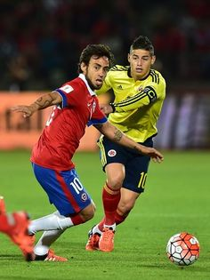 Chile's Jorge Valdivia vies for the ball with Colombia's James Rodriguez during their Russia 2018 FIFA World Cup South American qualifier match in. Football Positions, James Rodriguez, World Football, Fifa World Cup, American Football, Real Madrid, Soccer, Running, Russia