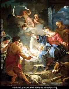 birth of jesus christ fine art | Nativity - Jean-Baptiste-Marie Pierre - www.most-famous-paintings.org