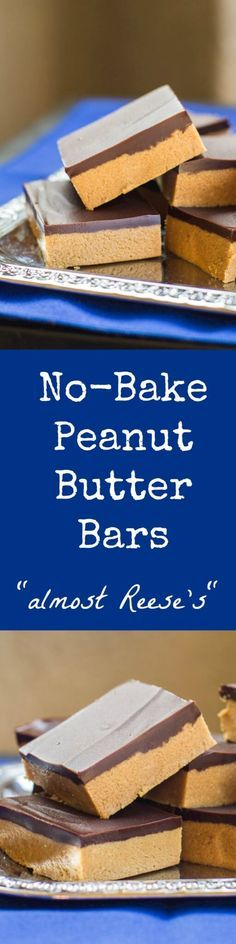 """No-Bake Peanut Butter Bars take only 5 ingredients and 10 minutes (plus chilling time). My Grandma calls them """"Almost Reese's"""" for good reason! (Peanut Butter No Baking Cookies) No Bake Treats, No Bake Desserts, Easy Desserts, Delicious Desserts, Yummy Food, Baking Desserts, Baking Cookies, Mini Desserts, Peanut Butter Bars"""