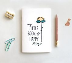 Hand Lettered Journal & Pencil Set, Midori Insert, Dream Big, Cute Floral Notebook - My Little Book of Happy Things - Stocking Stuffer Little Books, Good Books, Books To Read, My Books, Graphic Design Magazine, Magazine Design, Design Poster, Poetry Books, Birthday Gifts For Her