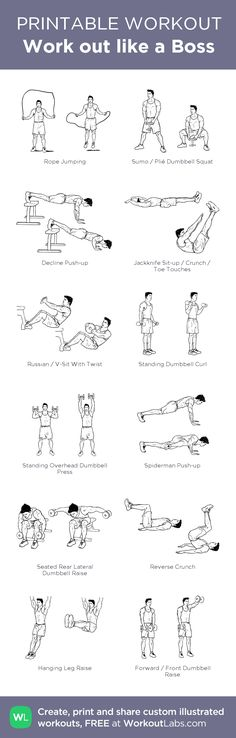 Work out like a Boss –my custom workout created at WorkoutLabs.com • Click through to download as printable PDF! #customworkout