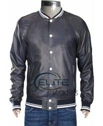 Black Justin bieber leather jacket with white and black colors.