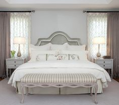 draw window treatments a good solution for a bed wall where space is tight.Side draw window treatments a good solution for a bed wall where space is tight. Bedroom Windows, Bedroom Curtains, Bedroom Wall, Lace Curtains, Window Curtains, Layered Curtains, Double Curtains, Gray Bedroom, Drapery