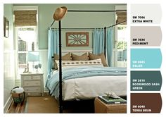 Relaxing bedroom color scheme: grays, blues, and browns.