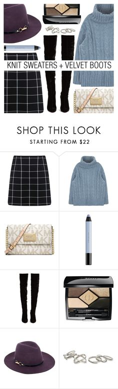 """Autumn in New York is such a runway show..."" by eclectic-chic ❤ liked on Polyvore featuring Miss Selfridge, Michael Kors, shu uemura, Christian Louboutin, Christian Dior, Monsoon, Kendra Scott, velvet, THIGHHIGHBOOTS and plaidskirt"