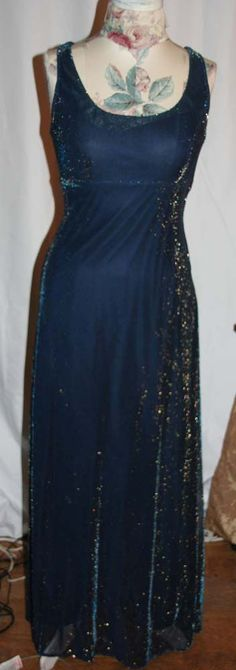 All That Jazz size 9/10 Midnight Blue Formal Prom Evening dress w/ gold metalic   Buy it now @ 24.99  or bid now @ 18.99 !