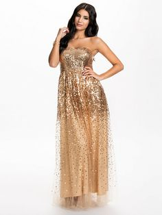 Sequins Long Dress - Nly Eve - Gold - Party Dresses - Clothing - Women - Nelly.com Uk