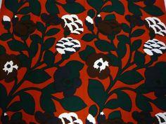 """Marimekko Finland Katsuji Wakisaka """"Green Green"""" Vintage Fabric 1975"""