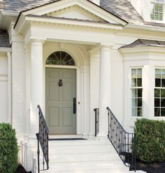 love the front door color - Southern Adam Federal/Georgian Exterior Doors, Exterior Paint, Exterior Design, Interior And Exterior, Interior Ideas, Interior Decorating, Grey Front Doors, Front Door Colors, Front Entry