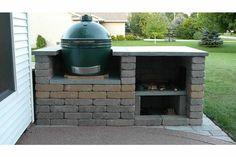 Big Green Egg built in Big Green Egg Outdoor Kitchen, Big Green Egg Table, Green Egg Grill, Outdoor Kitchen Patio, Green Eggs, Outdoor Living, Outdoor Kitchens, Outdoor Patios, Outdoor Fun