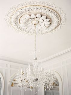 le chandelier * {magnolia rouge -- French Chateau wedding by Erich McVey} Aesthetic Light, Ceiling Rose, White Ceiling, White Walls, Ceiling Design, Ceiling Detail, Ceiling Decor, Chandelier Lighting, Vintage Chandelier